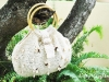 White crochet bag with wooden handle