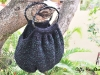 Black crochet bag with bamboo handle