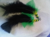 Long feather earrings with plastic beads